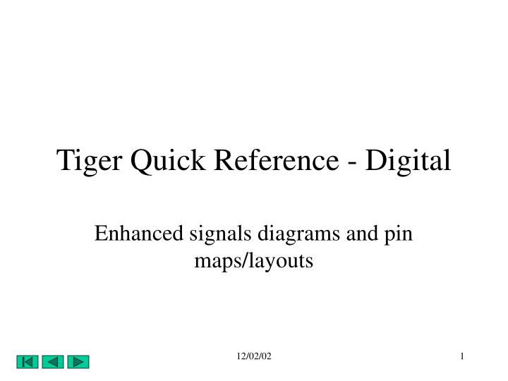 Tiger quick reference digital