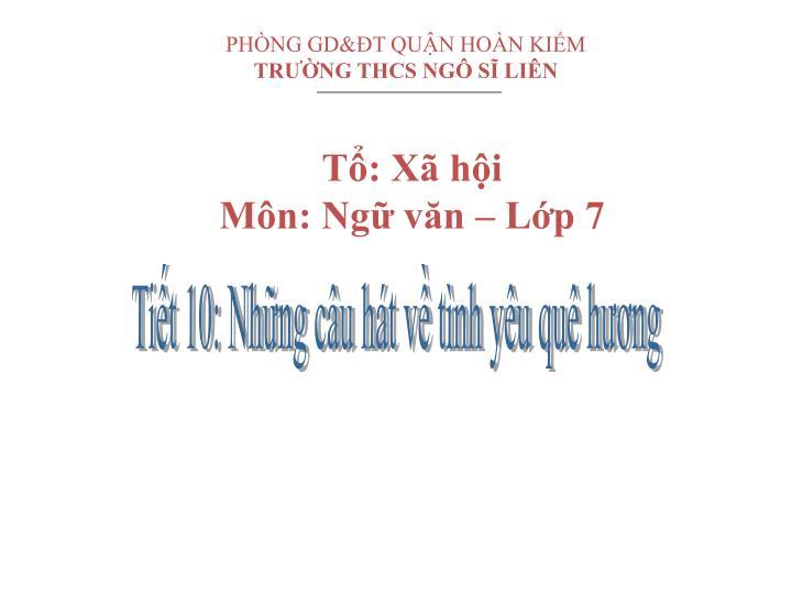 PHÒNG GD&ĐT QUẬN HOÀN KIẾM