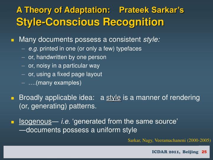 A Theory of Adaptation:
