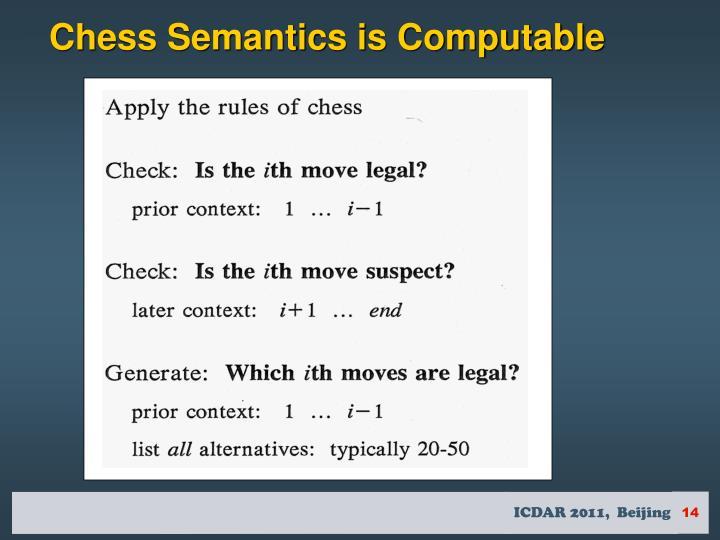 Chess Semantics is Computable