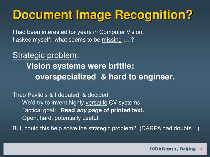 Document Image Recognition?