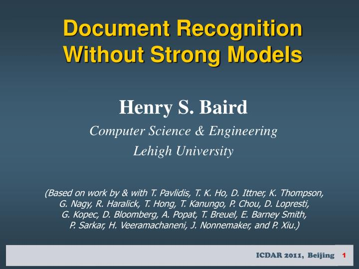 Document recognition without strong models