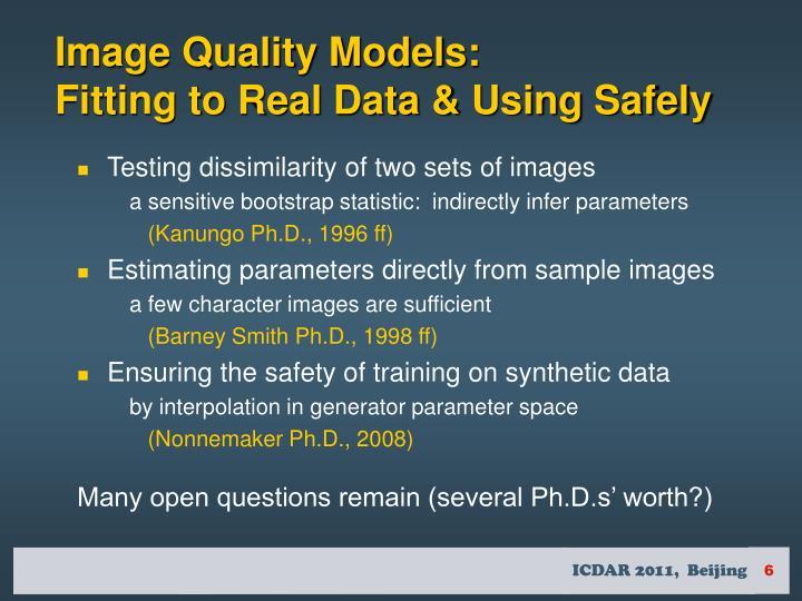 Image Quality Models: