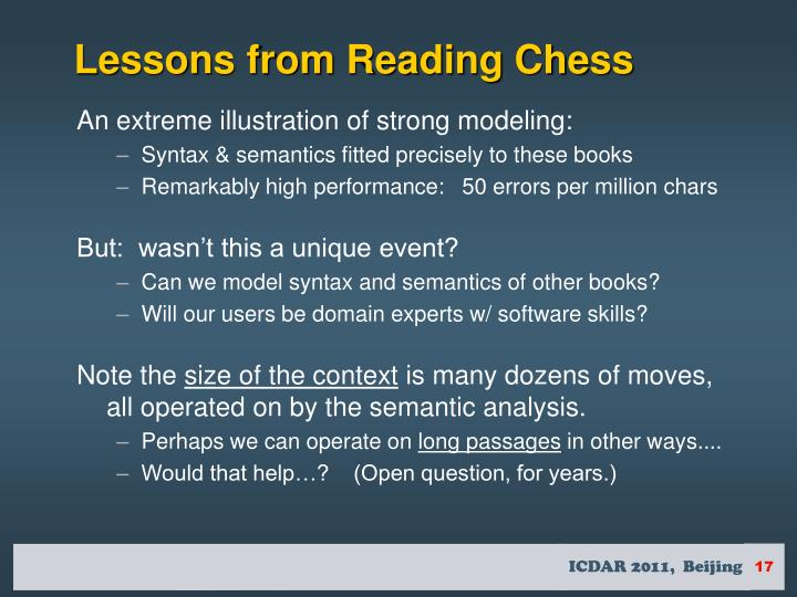 Lessons from Reading Chess