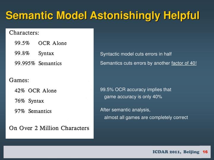 Semantic Model Astonishingly Helpful