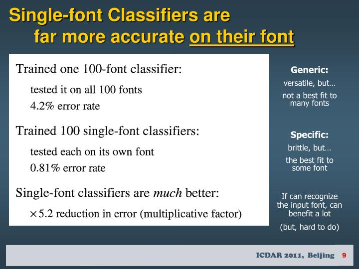 Single-font Classifiers are