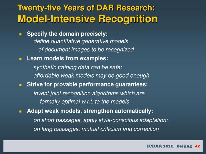 Twenty-five Years of DAR Research: