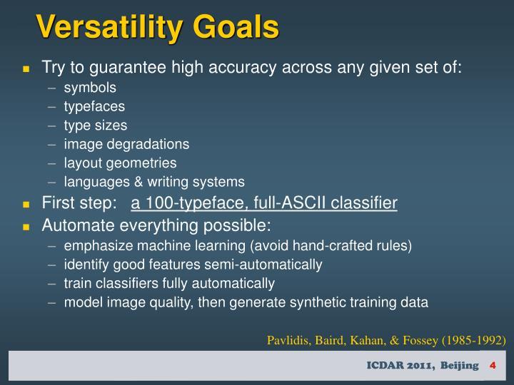 Versatility Goals