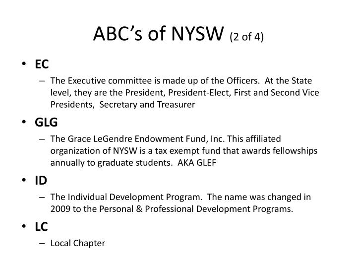 ABC's of NYSW