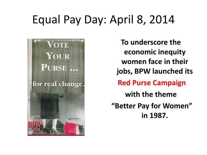 Equal Pay Day: April 8, 2014