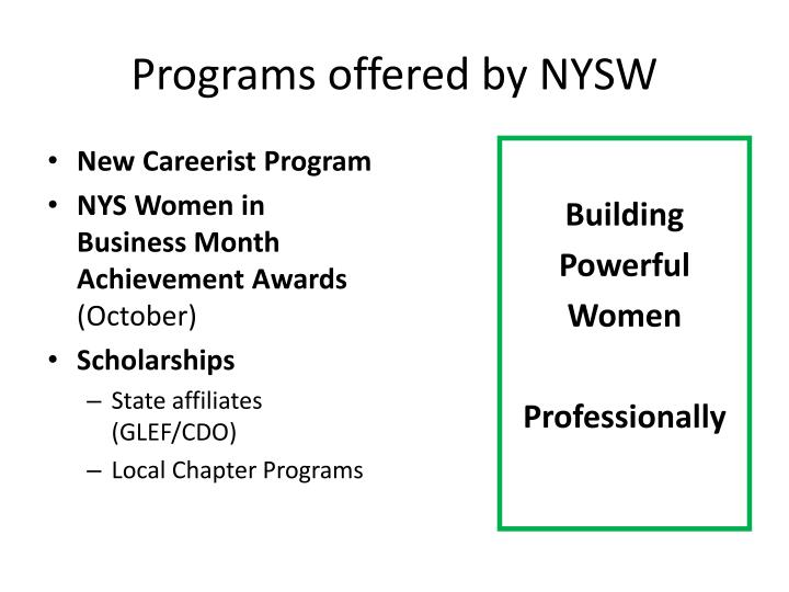 Programs offered by NYSW