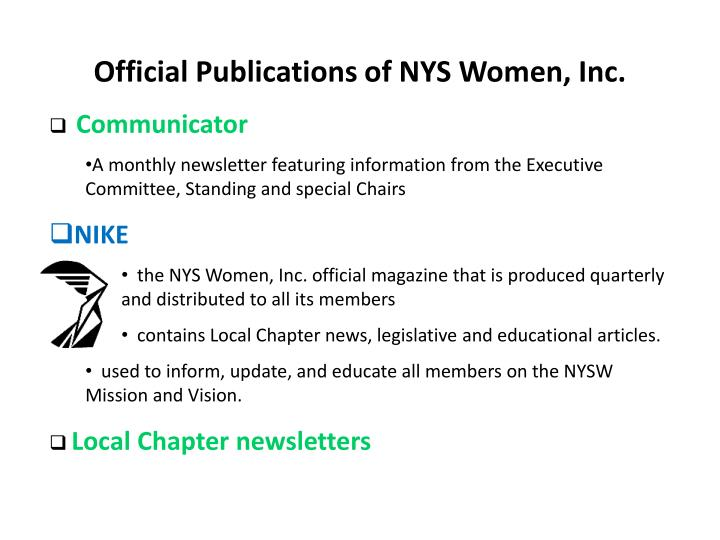 Official Publications of NYS Women, Inc.