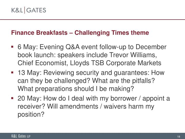 Finance Breakfasts – Challenging Times theme