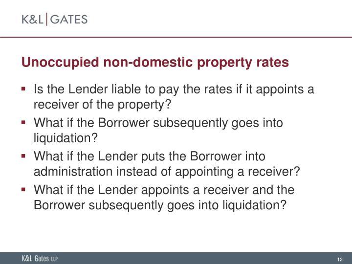Unoccupied non-domestic property rates