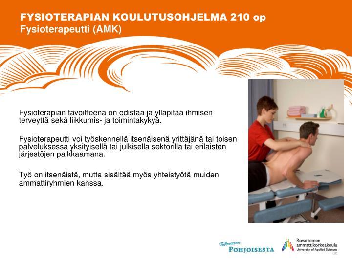 FYSIOTERAPIAN KOULUTUSOHJELMA 210 op