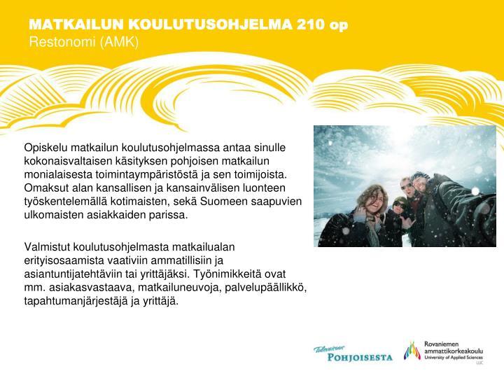 MATKAILUN KOULUTUSOHJELMA 210 op