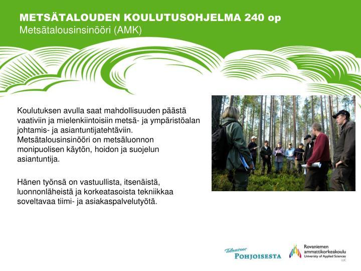 METSÄTALOUDEN KOULUTUSOHJELMA 240 op