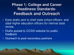 phase 1 college and career readiness standards feedback and outreach