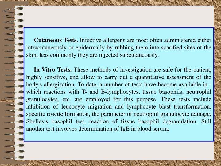 Cutaneous Tests.