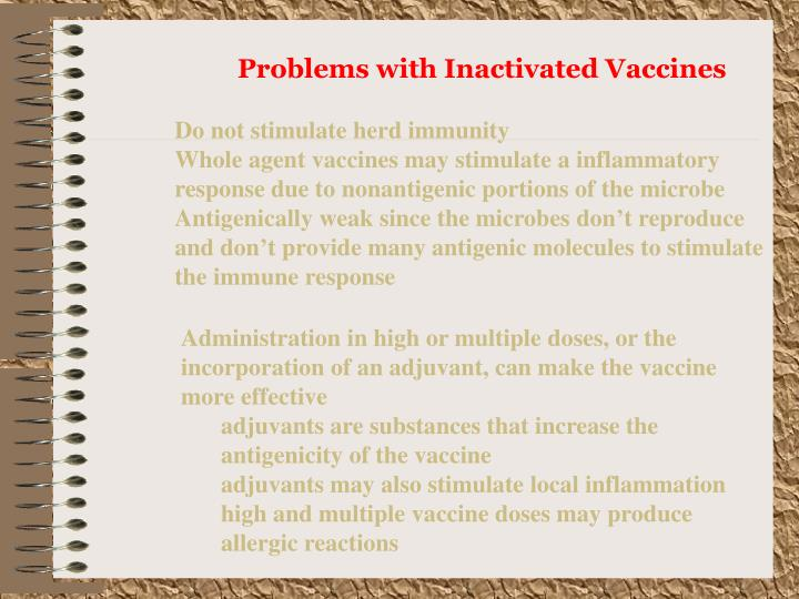 Problems with Inactivated Vaccines
