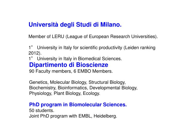 Università degli Studi di Milano.