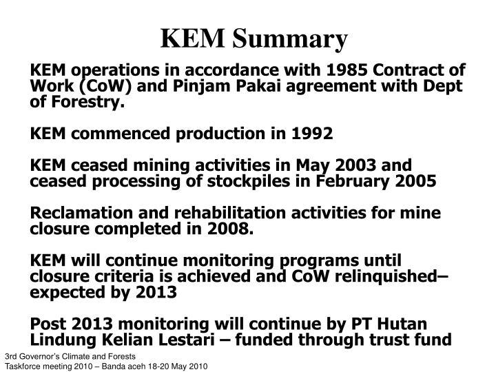 KEM Summary
