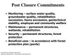 post closure commitments