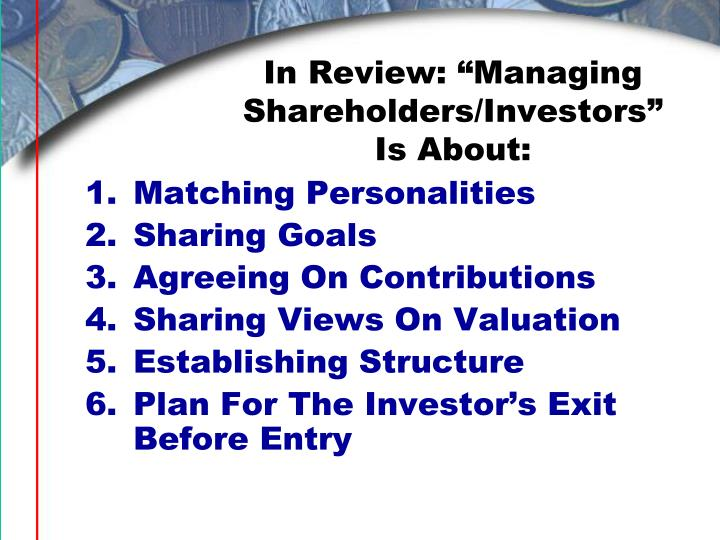 "In Review: ""Managing Shareholders/Investors"" Is About:"
