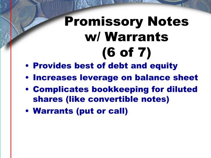 Promissory Notes w/ Warrants