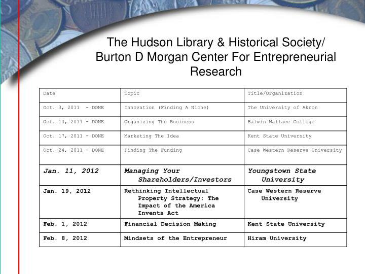 The Hudson Library & Historical Society/ Burton D Morgan Center For Entrepreneurial Research