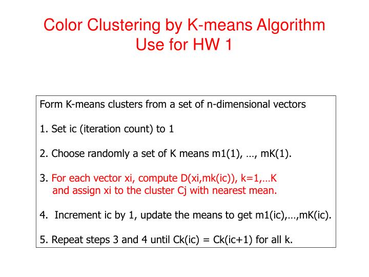 Color Clustering by K-means Algorithm