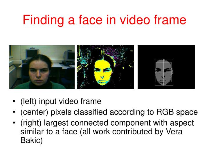 Finding a face in video frame