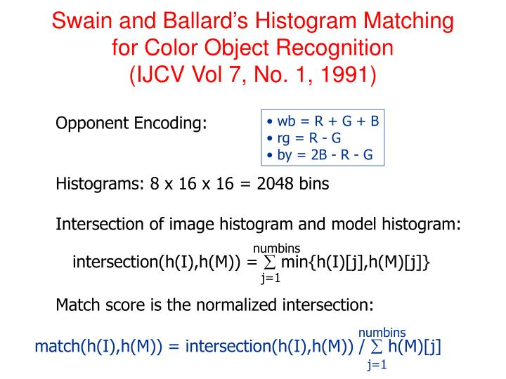 Swain and Ballard's Histogram Matching