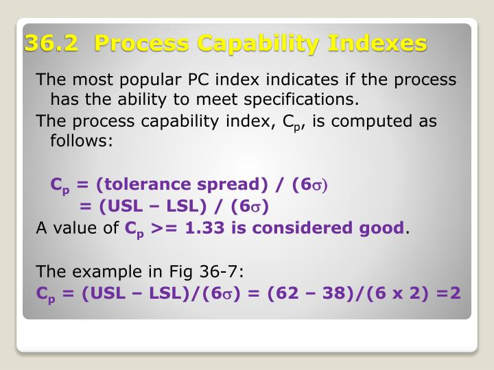 The most popular PC index indicates if the process has the ability to meet specifications.