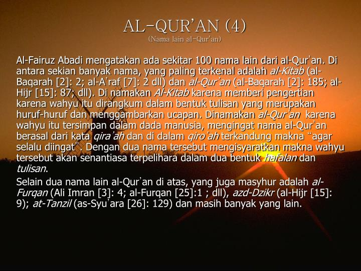 AL-QUR'AN (4)