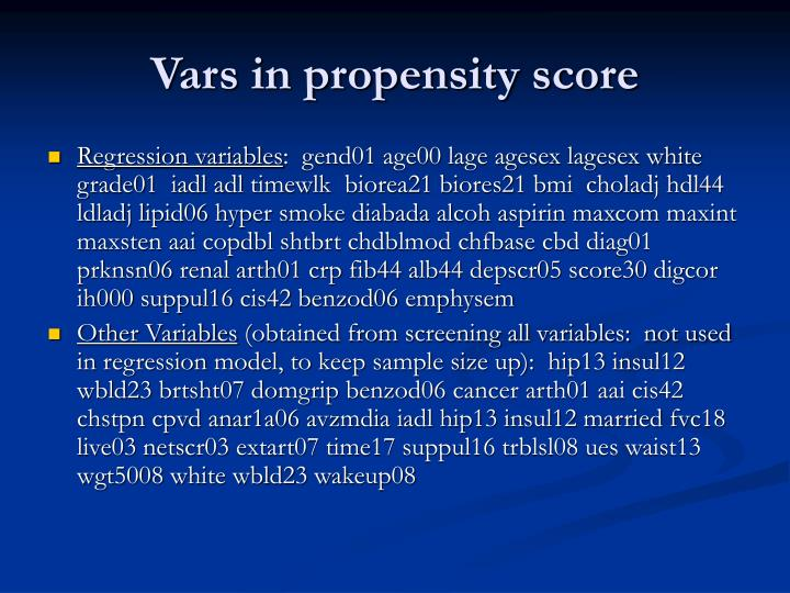 Vars in propensity score