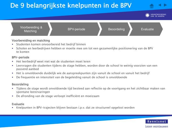 De 9 belangrijkste knelpunten in de BPV