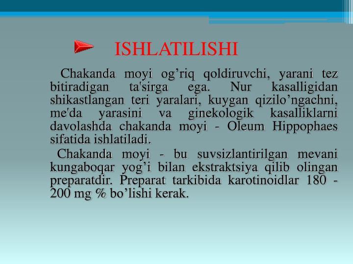 ISHLATILISHI