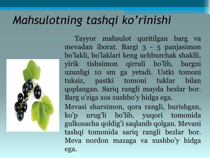 Mahsulotning tashqi ko'rinishi