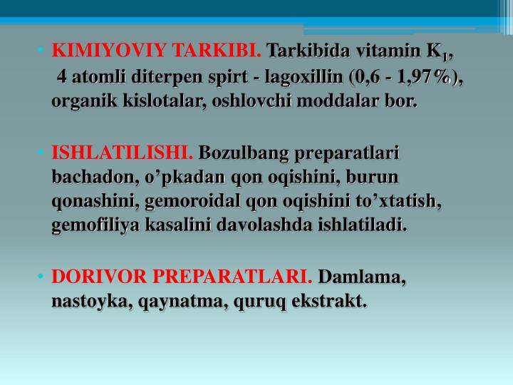 KIMIYOVIY TARKIBI.