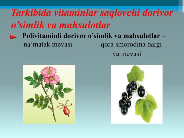 Tarkibida vitaminlar saqlovchi dorivor o'simlik va mahsulotlar