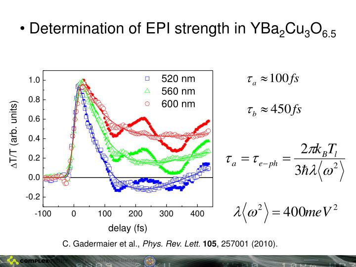 Determination of EPI strength in YBa
