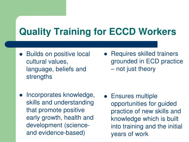 Quality training for eccd workers