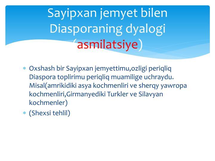 Sayipxan jemyet bilen Diasporaning dyalogi