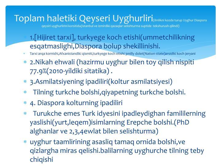 Toplam haletiki Qeyseri Uyghurliri