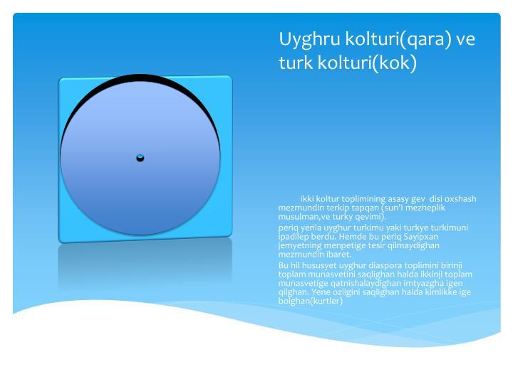 Uyghru kolturi(qara) ve turk kolturi(kok)