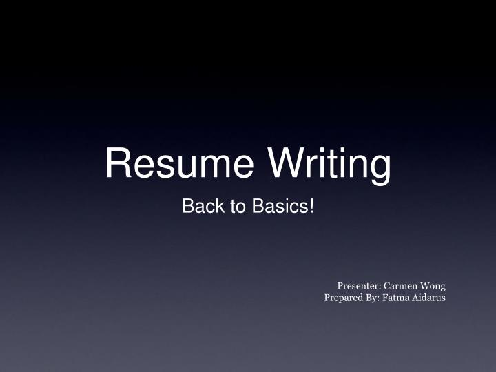 presentation in resume