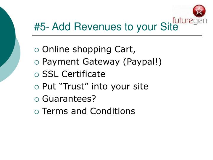 #5- Add Revenues to your Site