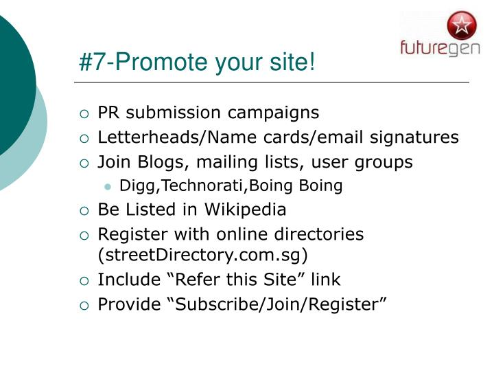 #7-Promote your site!