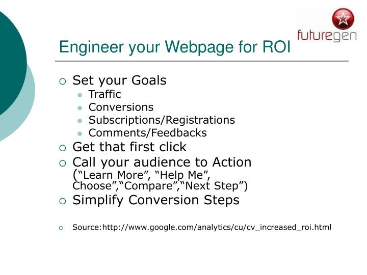 Engineer your Webpage for ROI